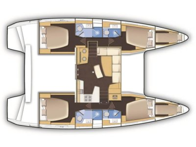 Lagoon42 4 cabines plan