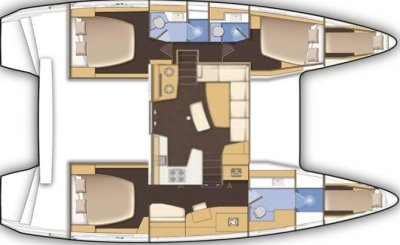 Lagoon42 3 cabines plan